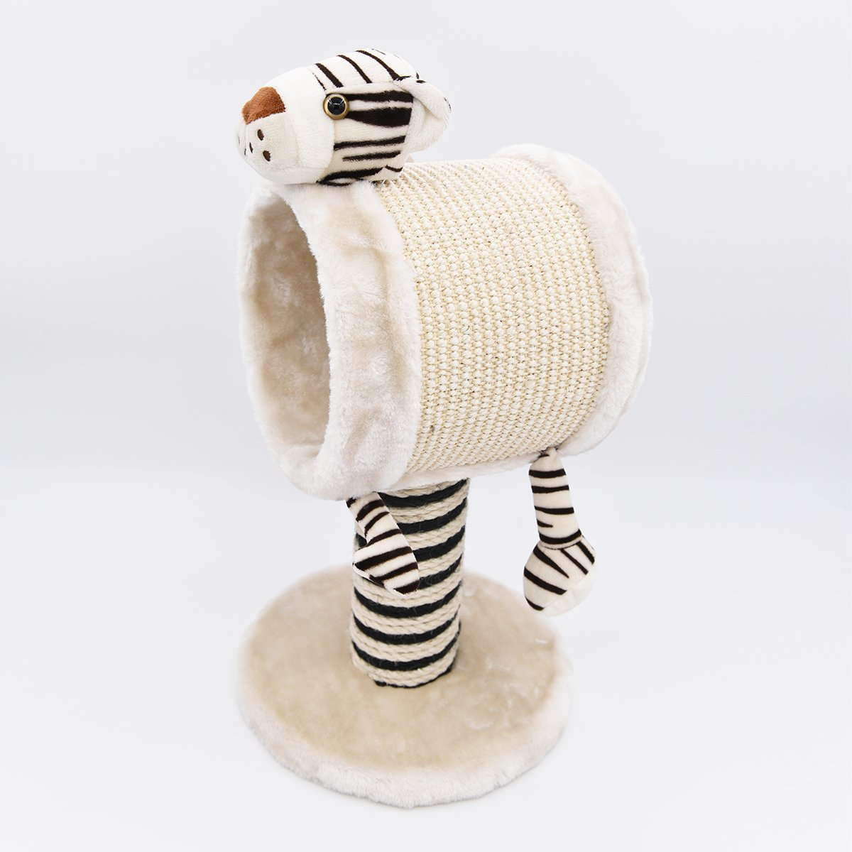 MorePets] Zoo Buddies Kitten Small Cat Tree Scratching Post Compact Size Toys (Tiger, Medium)
