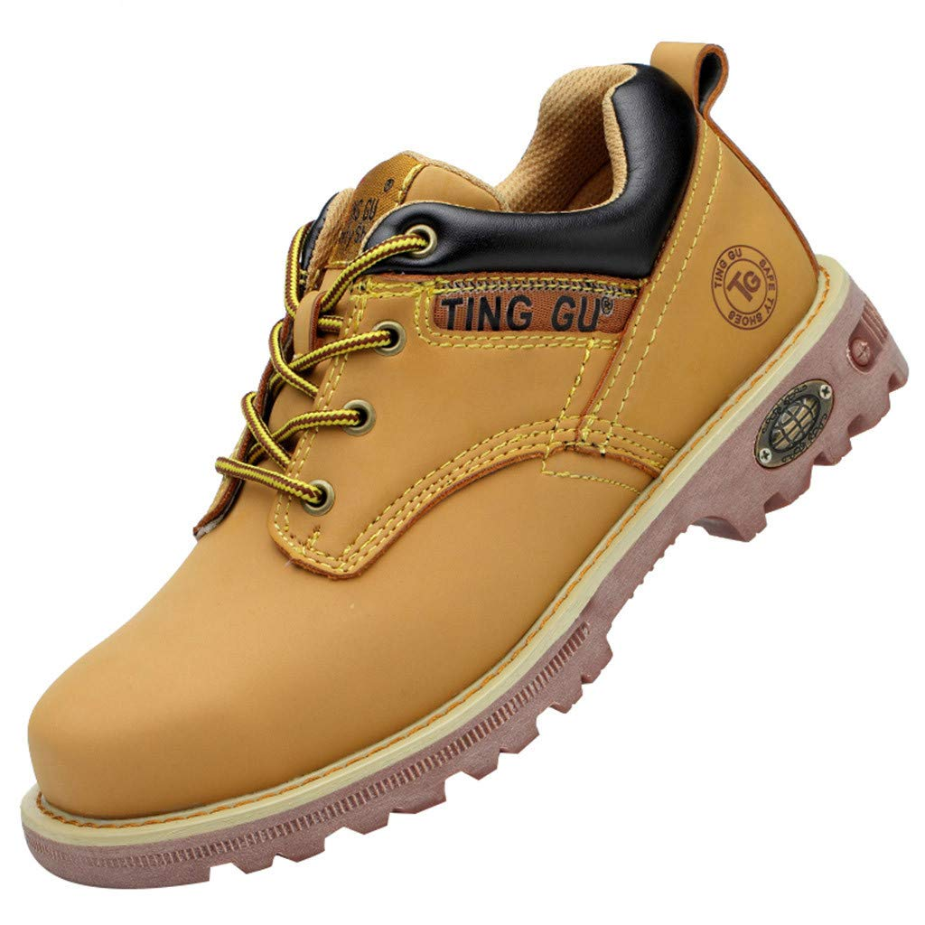 Couple Work Steel Toe Safety Shoes for Men Women Breathable Training Protect Shoe (US:6.5-7, Yellow) by Suoxo Men Shoes