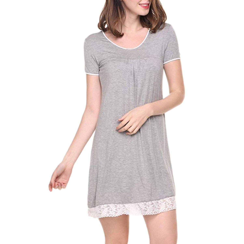 bluee Glittering time Fashion Sexy Summer Dress Womens Nightgown Short Sleeve Sleep Shirt Dress Soft Loose Sleepwear with Lace