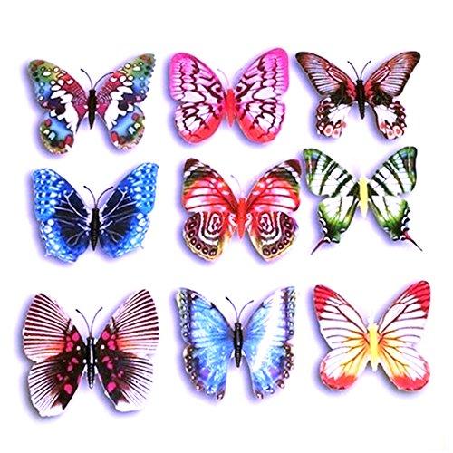 Foxnovo 10pcs Lifelike 3D Artificial Butterfly Refrigerator Fridge Magnets Decorations (Random Color) (as show, 2pcs)
