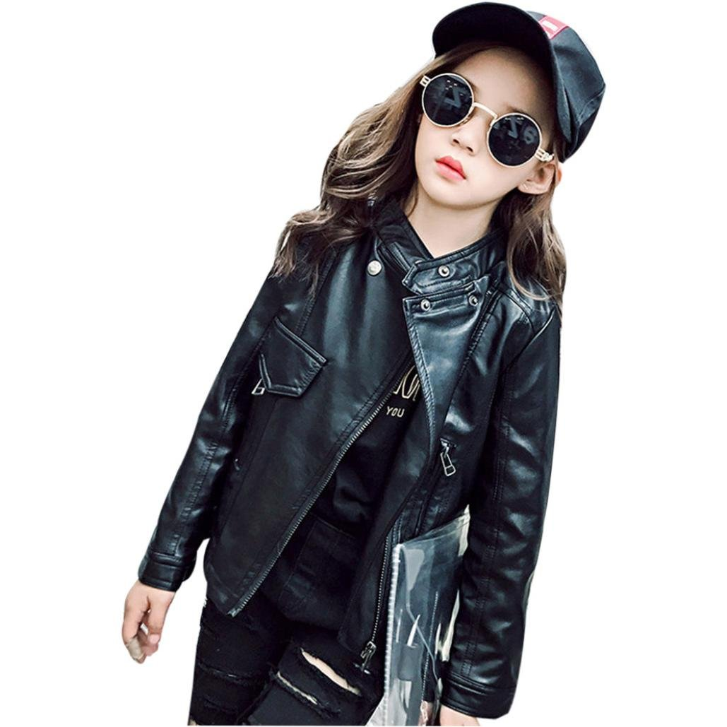 Leegor Kids Girls Chic Button Up Collar Leather Jacket Fashion Zipper Outwear Coat (4T, Black)