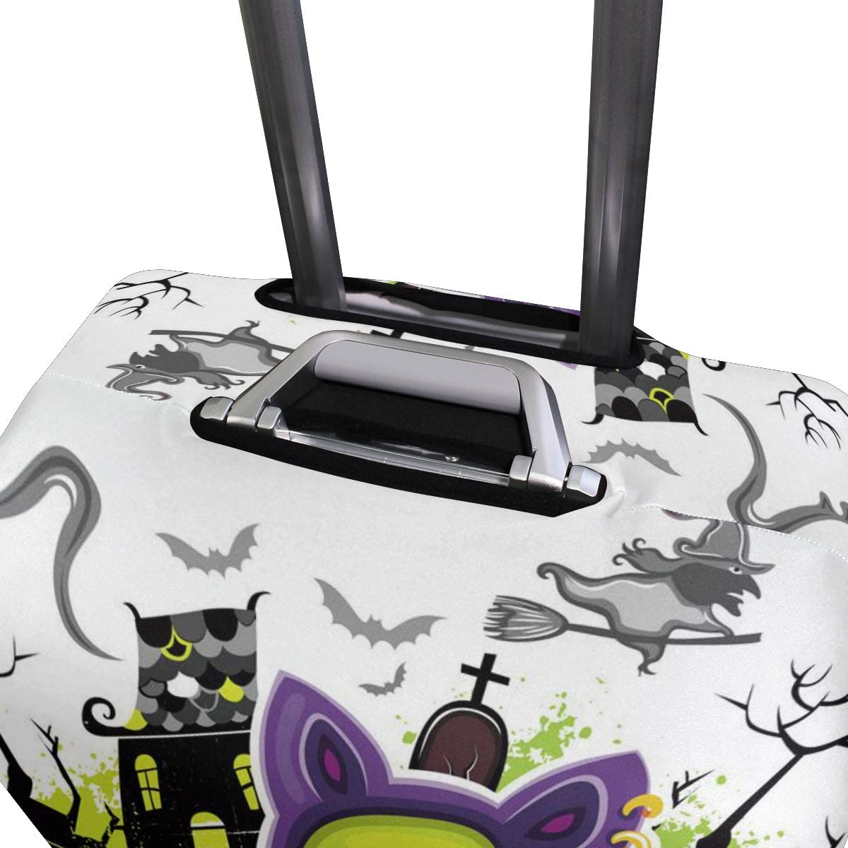 ALAZA Luggage Protector,Halloween Green Cat Elastic Travel Luggage Suitcase Cover,Washable and Durable Anti-Scratch Case Protective Cover for 18-32 Inches