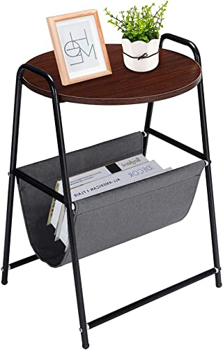 Greensen Round Bed Side Table, Rustic Sofa Table with Fabric Storage, Nightstand with Metal Frame for Living Room Bedroom Office Furniture, Black and Brown