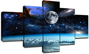 5 Pieces Canvas Art Outer Space Universe Planet Earth Galaxy Stars Pictures Wall Decor Living Room Office Bedroom Bathroom Decoration Artwork Frame Poster Painting Ready to Hang(60 x 32 inches)