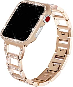 for Apple Watch Bands with Rhinestone Protective Cover, Bling Handiness Replacement Wristband for Apple Watch iWatch Series 3, Series 2, Series 1, Nike+ Sport Edition,for Women M (Gold, 38mm)