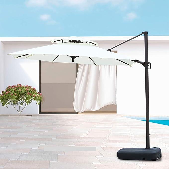 Sombrilla Patio Paraguas, 10 pies terraza en voladizo Paraguas, terraza de la Piscina al Aire Libre, elevación/Base del Tanque de Agua Colgando (Dos Colores): Amazon.es: Hogar