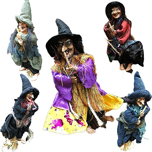 Halloween Props Hanging Dolls Decorative Flying Sweep Witch Accessory For Party 5pcs(Multicoloured) (Do It Yourself Mummy Costume)
