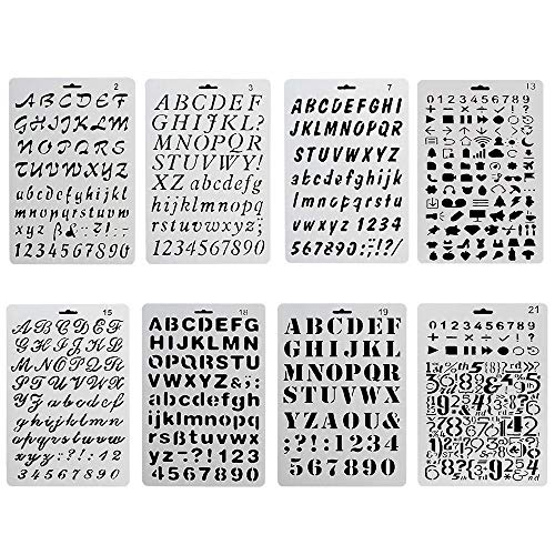 Basic Geometric Template - Bullet Journal Stencil 8 PCS,Aolvo Rustic Number Stencils Set Plastic Mechanical Drawing Templates for Scrapbooking DIY Albums Accessories,Card and Craft Projects107 inch,White