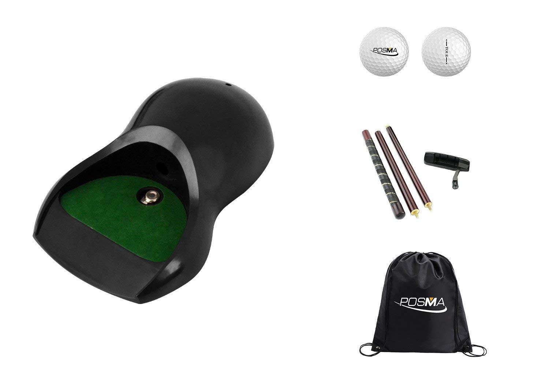 POSMA PG160C ゴルフパタートレーニングパッティングトレーナーセット キックバックパットカップ、パター、ツアーボール、シンチサックキャリーバッグ付き   B07H13YK5P
