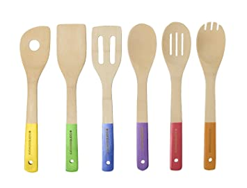 Beautiful BambooWorx  Multi Color Bamboo Cooking Utensils Set  6 Pieces, Wooden Spoons  U0026