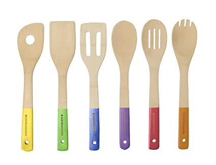 BambooWorx  Multi Color Bamboo Cooking Utensils Set  6 Pieces, Wooden  Spoons U0026
