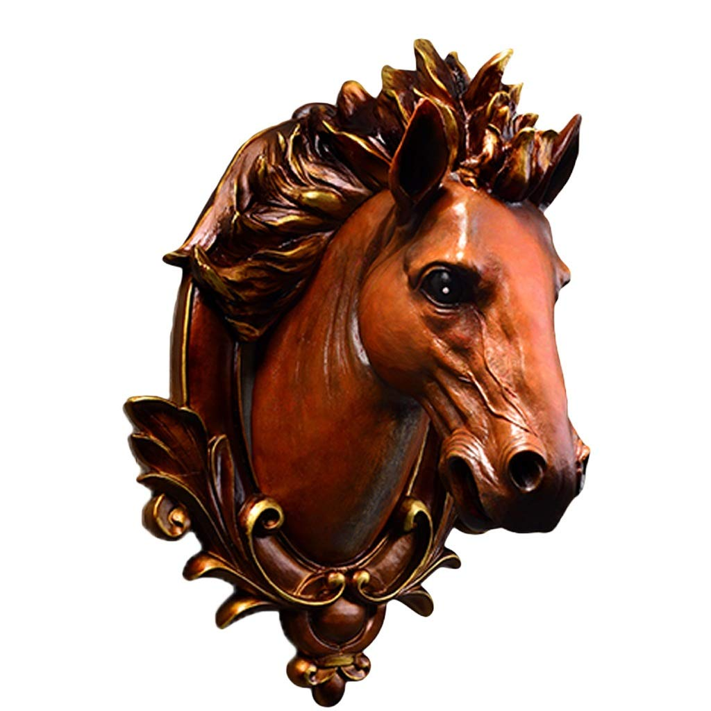 Animal Sculpture Horse Head Wall Decoration Pendant Living Room Bedroom Simulation Raw 3D Resin 3244cm Animal Head (Size : M) by Wall mount
