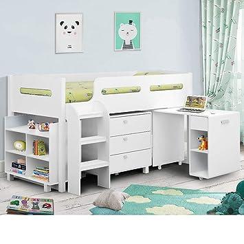 best service 1e931 feef4 Happy Beds Kimbo White Sleep Station Children Kids Cabin Bunk Bed Frame 3'  Single 90 x 190 cm
