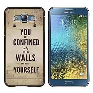 """Be-Star Único Patrón Plástico Duro Fundas Cover Cubre Hard Case Cover Para Samsung Galaxy E7 / SM-E700 ( Texto retro inspirador mensaje"""" )"""
