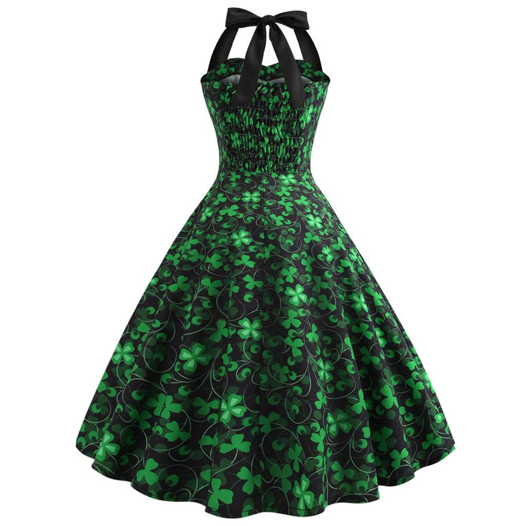 Womens Halter Sleeveless Clover Print Party Prom Swing Dress