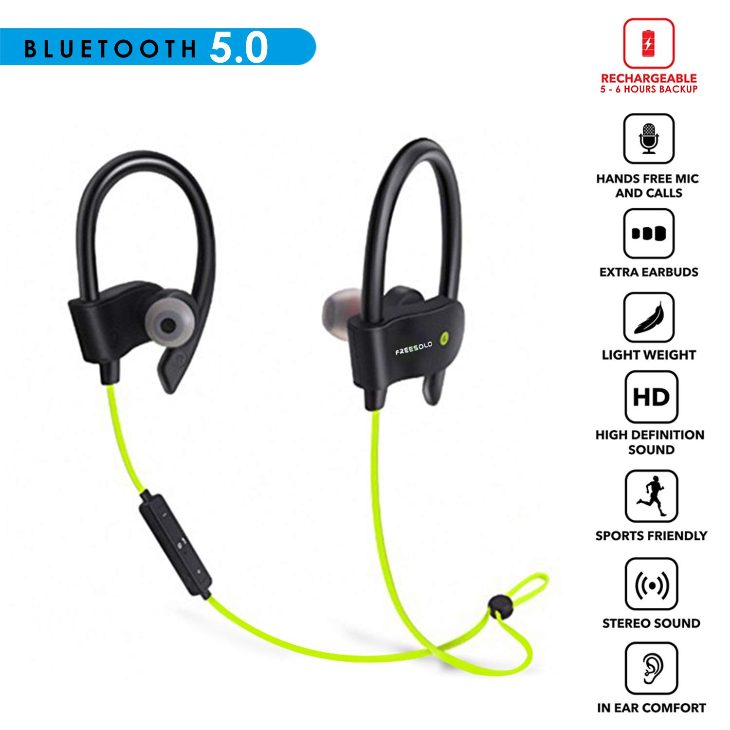 429db00143c FREESOLO Wireless Bluetooth 4.1 In-Ear Noise-Isolating, Sport Earbuds with  Mic and Controller, Sweatproof, Designed for Running, Jogging and Gym  (Vibrant ...