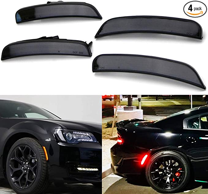 Smoke Lens Amber//Red Full LED Front Rear Side Marker Light Kits for Chrysler 300 2015 2016 2017 2018 2019 LED Turn Signal Lights Powered by Total 181-SMD LED Replace OEM Sidemarker Lamps