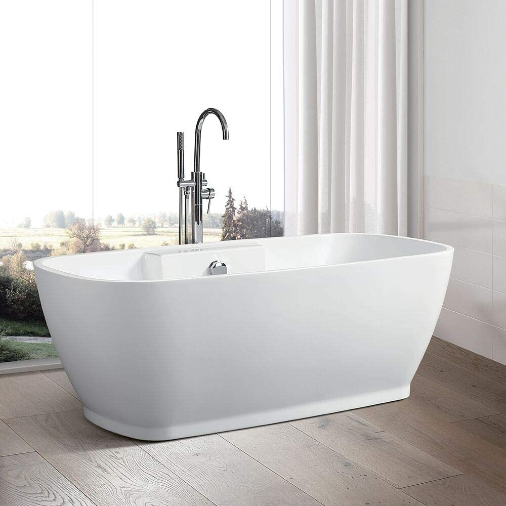 Vanity Art 67 Inch Freestanding Acrylic Bathtub Modern Stand Alone Soaking Tub with Chrome Finish UPC Certified Round Overflow and Pop-up Drain VA6835-L