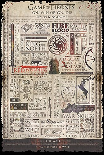 Empireposter 719294 Paper, Game of Thrones – Infographic – Fantasy Poster – 91.5 x 61cms x 0.14 cm