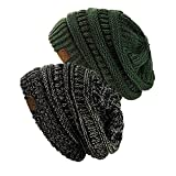 NYFASHION101 Exclusive Unisex Two Tone Warm Cable Knit Thick Slouch Beanie Cap (2 Tone Black/Dark Beige & 2 Tone Olive)