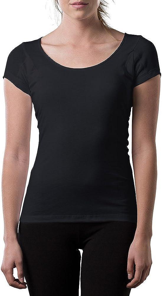 T Thompson Tee Sweatproof Undershirt for Women w//Underarm Sweat Pads Original Fit,Scoop Neck