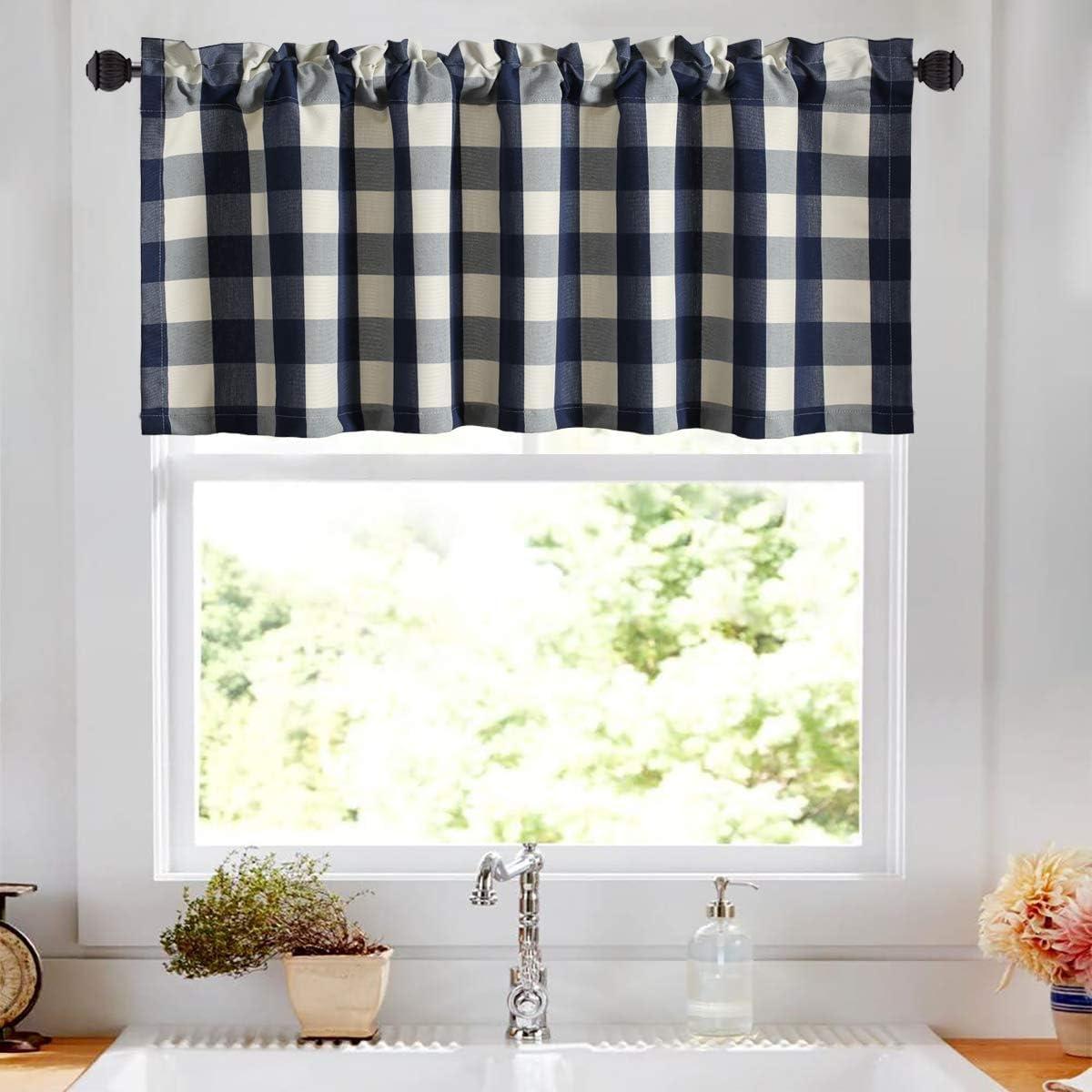 VOGOL Buffalo Check Plaid Cotton Valances for Windows, Blue and White Farmhouse Design Window Treatment Decor Curtains, Rod Pocket Valances for Cafe, 52''x18'', Navy