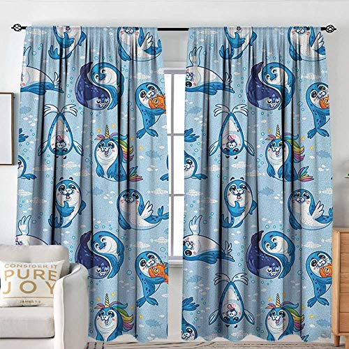 NUOMANAN Blackout Curtains 2 Panels Sea Animals,Seal Pup Cartoon Aquatic Wildlife Friendly Hugging Water Bubbles Kids, Blue White Marigold,Rod Pocket Curtain Panels for Bedroom & Kitchen 60
