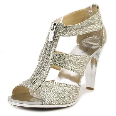 f5db77394b0 Michael Michael Kors Women s Berkley T-Strap Silver Glitter Platform ...