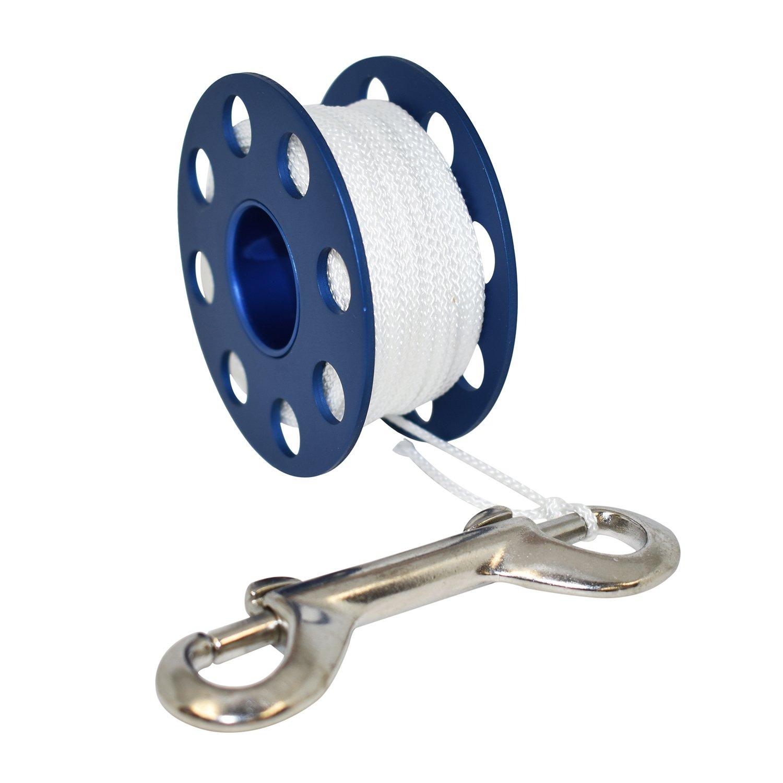 Scuba Choice Aluminum Finger Spool 75ft Dive Reel w/Bolt Snap-Blue/White