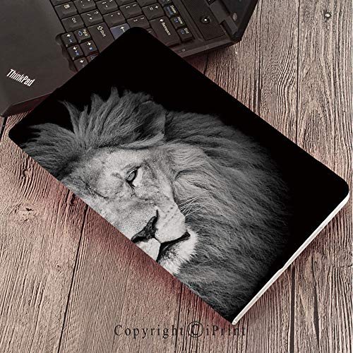 Lion Head Pedestal - Case for Samsung Galaxy T820 T825 Slim Folding Stand Cover PU Tab S3 9.7,Safari Decor,Portrait of Huge Male African Lion Head with Fure Mane Against Dark Background Monochromic,
