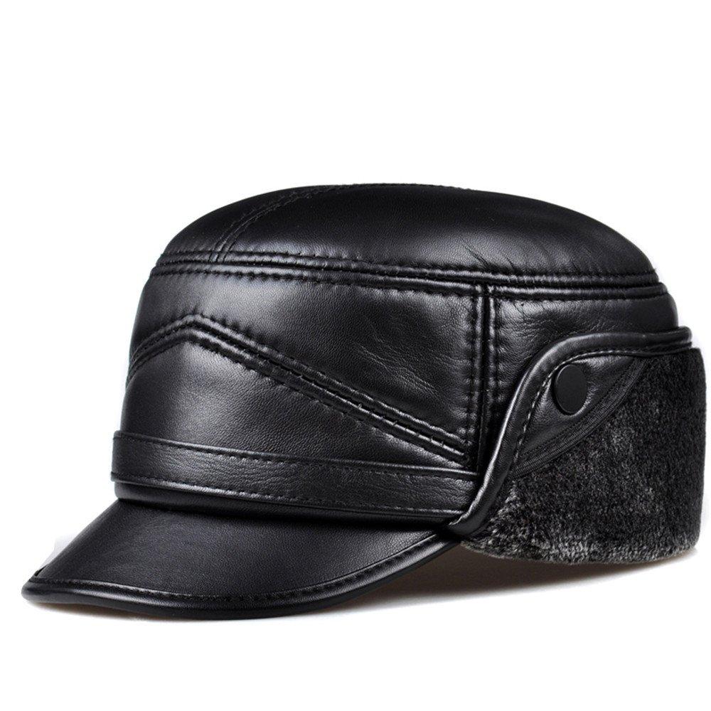 Autunno e Inverno Cappello in cuoio uomini vecchio cappello di pelle di pecora maschio caldo il tapp...