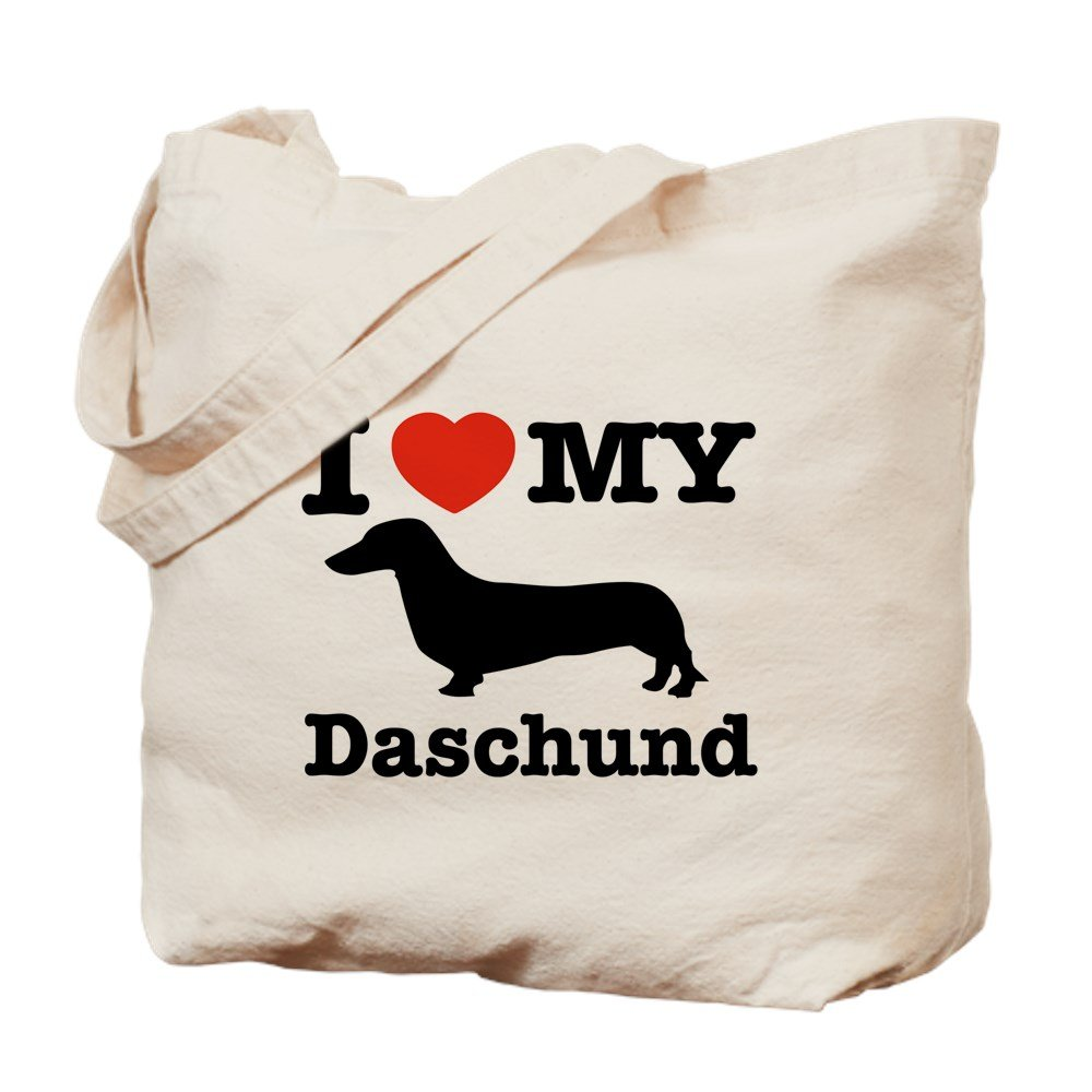 CafePress - I Love My Daschund - Natural Canvas Tote Bag, Cloth Shopping Bag