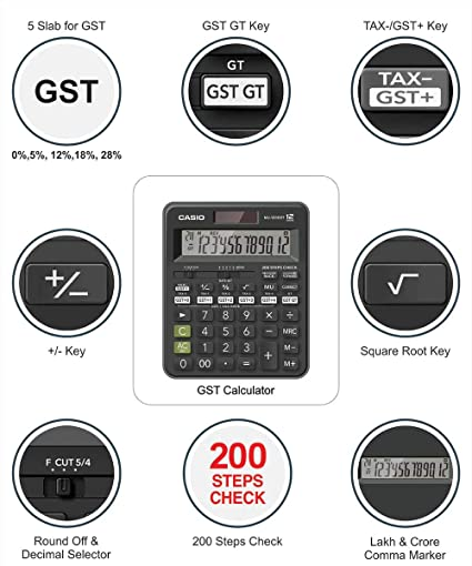 Casio MJ-120GST GST Calculator (Black)