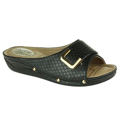 f59405db2d99d4 Women Ladies Pressure Point Soft Flexible Massage Summer Lightweight Slip  On Wedge Heel Black Sandals Shoes