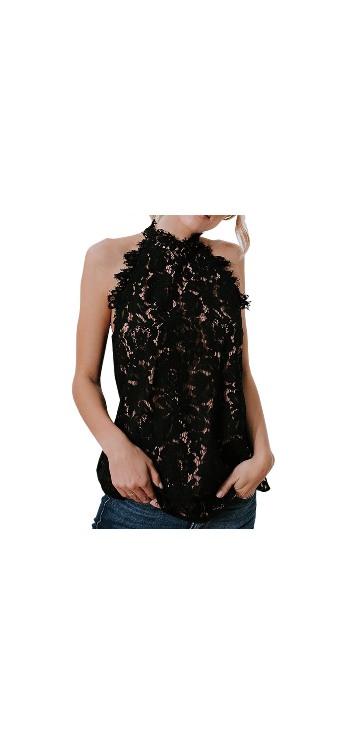 Womens Lace Crochet Tank Tops Sleeveless Halter Scallop