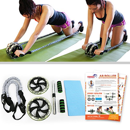 Ab Roller with Resistance Bands, Knee Mat, Foot Straps &