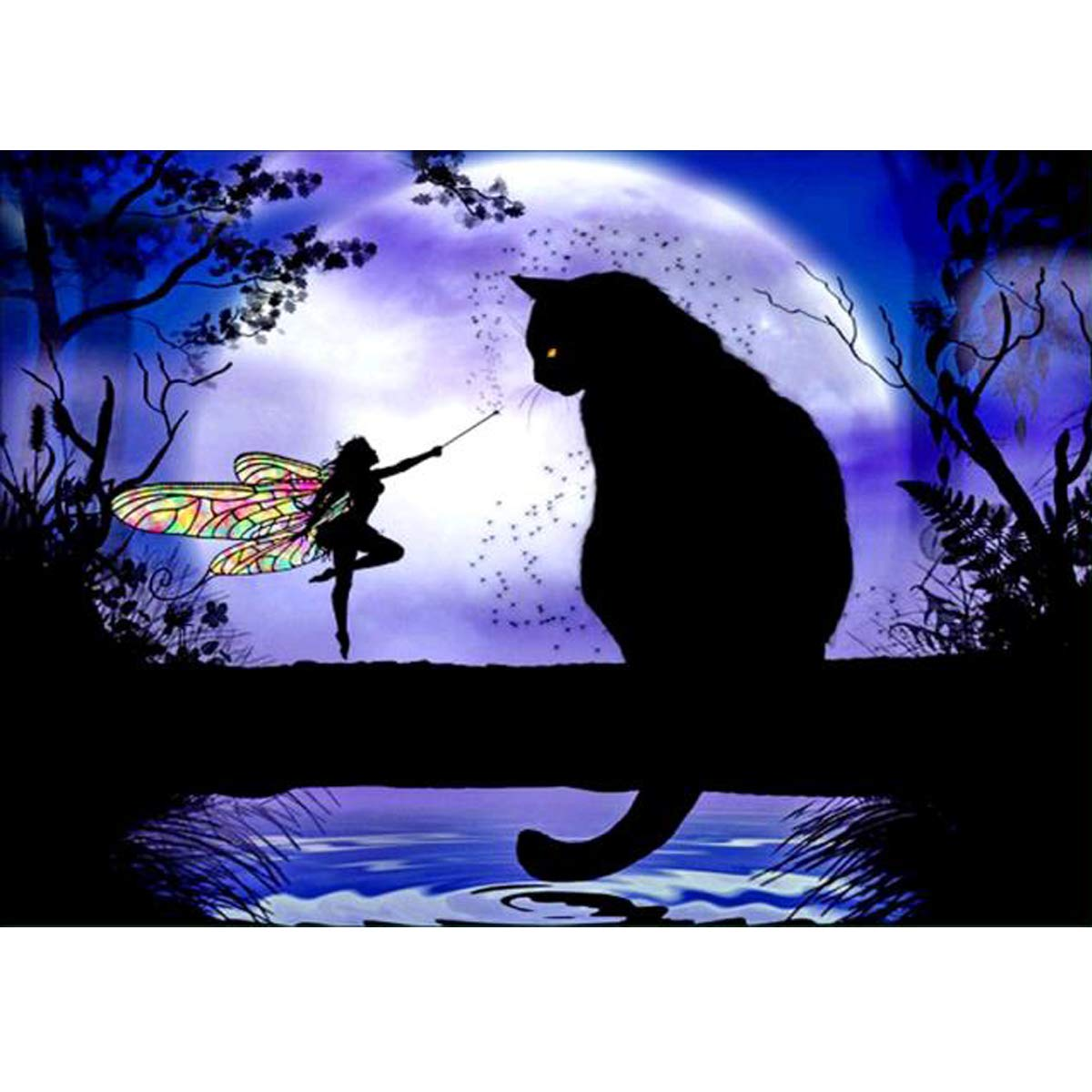 5D Diamond Painting Full Round Drill Kits for Adults Pasted Embroidery Cross Stitch Arts Craft for Home Wall Decor Elf and Black Cat 12x16in