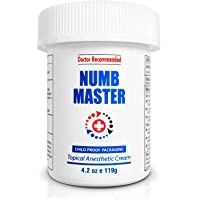 Numb Master 5% Lidocaine Topical Numbing Cream, Maximum Strength Long-Lasting Pain Relief Cream, Fast Acting Topical Anesthetic Cream with Aloe Vera, Vitamin E, Lecithin with Child Resistant Cap 4.2oz