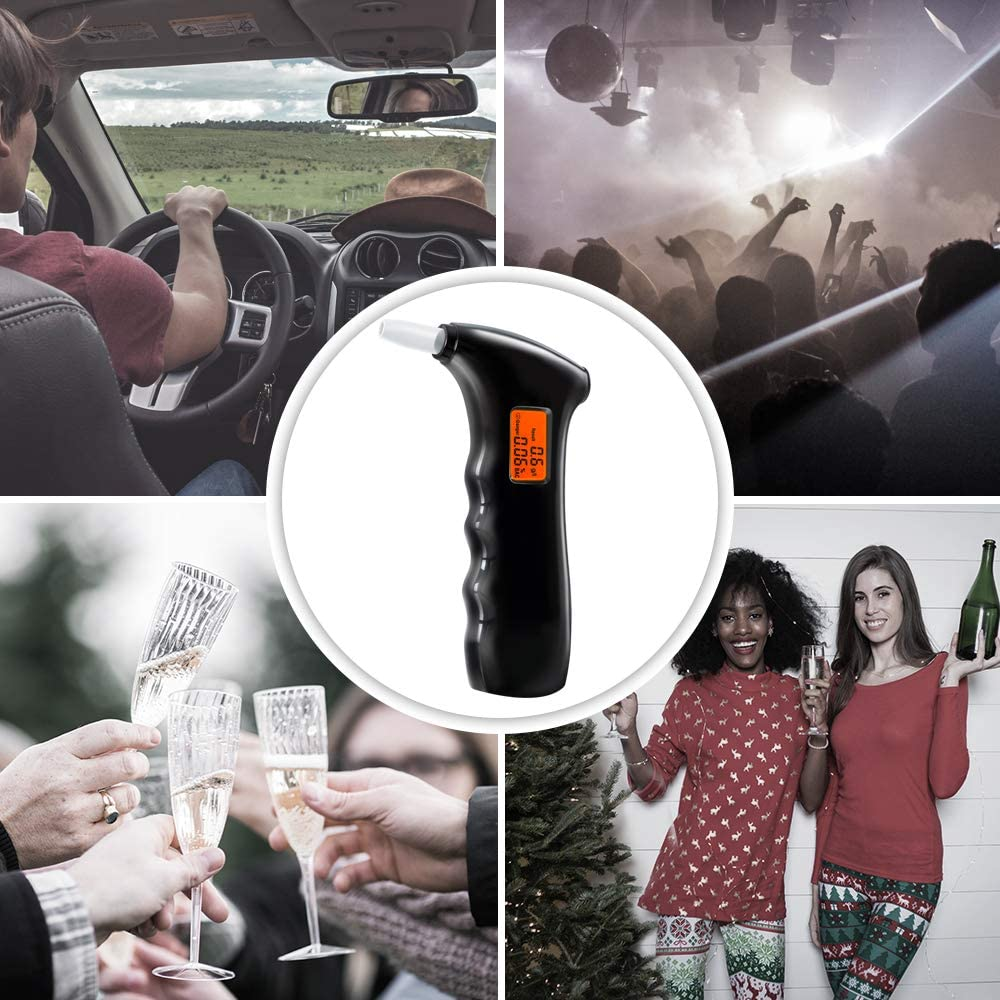 Arovina Breathalyzer Alcohol Tester Digital Breath Alcohol Tester Portable Alcohol Breathalyzer High Accurate Alcohol Detector with LCD Display and 5 Mouthpieces for Home and Personal Use