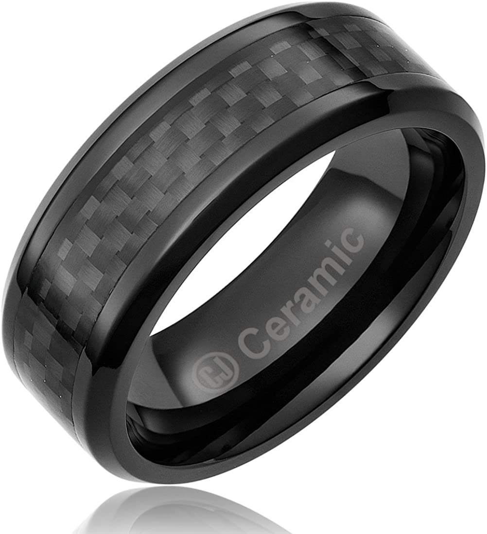 Cavalier Jewelers 8MM Jewelry Grade Black Ceramic Ring Wedding Band with Black Carbon Fiber Inlay
