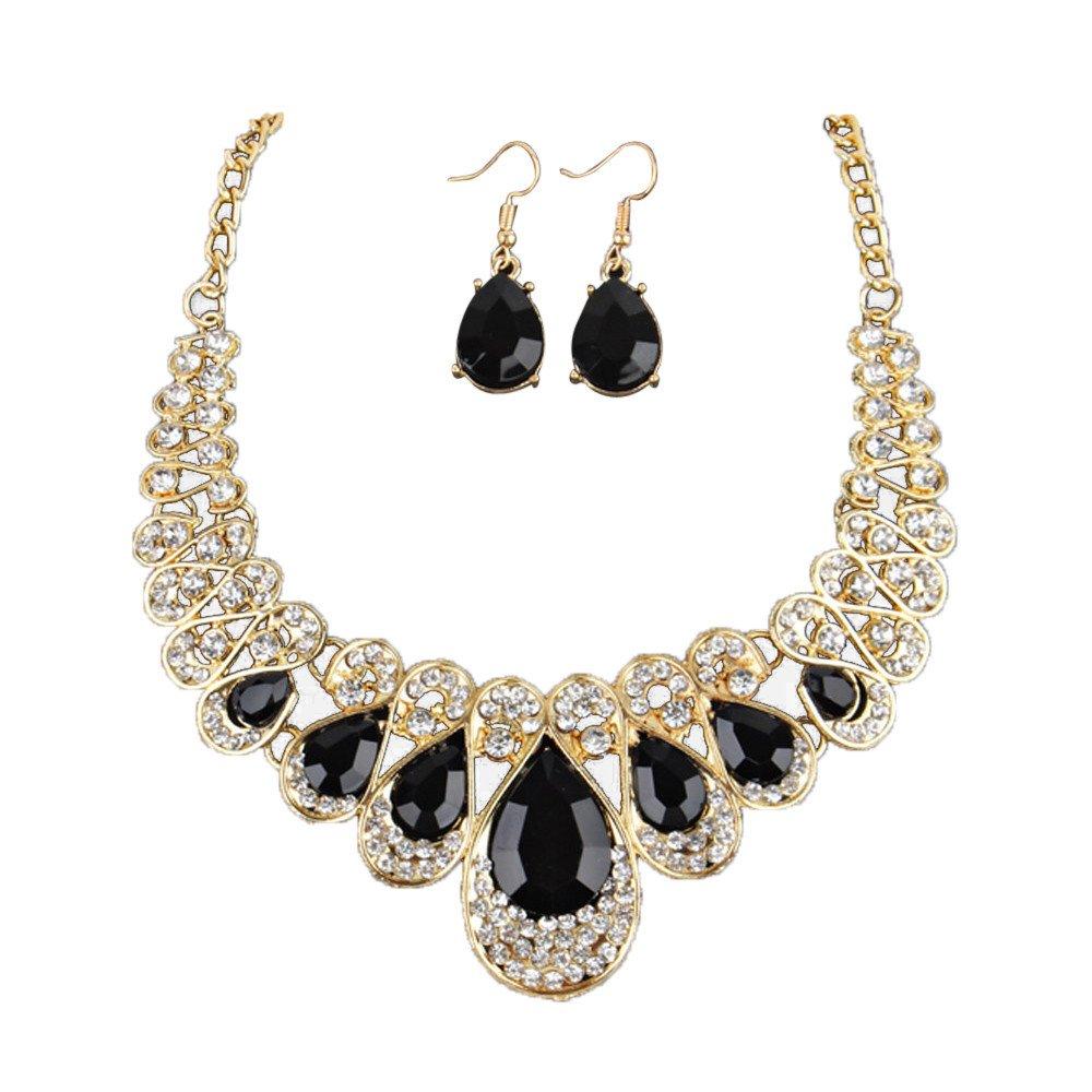 Fashion Necklace Set,Women Fashion Crystal Necklace Jewelry Statement Pendant Charm Chain Choker,Black