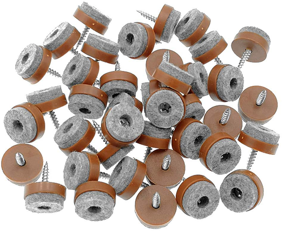 "40pcs Furniture Glide,Screw-on Felt Pad Slider Floor Protector for Wooden Leg Feet of Chair Table Sofa(Φ24mm or 0.95"",Brown)"