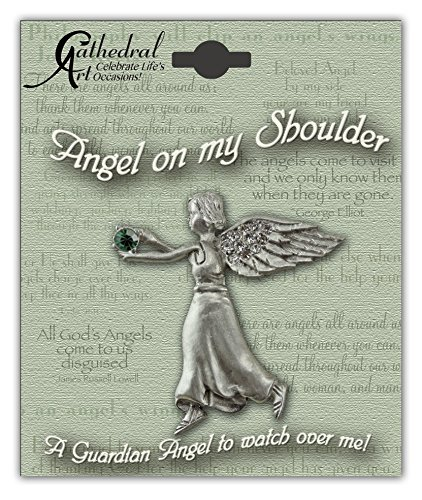 Cathedral Art BA305 May Emerald Birthstone Angel Pin, 1-1/2-Inch