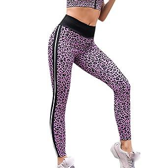 Pantalones de yoga con rayas de leopardo para mujeres ...