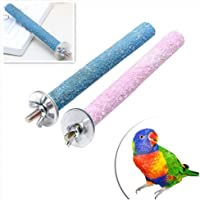 Teydhao Parrot Perches Bird Stand Natural Wood Quartz Sand Branches Nail Perch for Small Medium Birds Cockatiel Parakeet Pet Parrot Budgie Chew Bite Paw Grinding Rod Toy Bird Cage Play Stand Perches