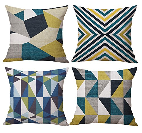 18 x 18 inches Decorative Throw Pillow Covers Set Square Geometry Triangle Sofa Cushion Covers Set of 4