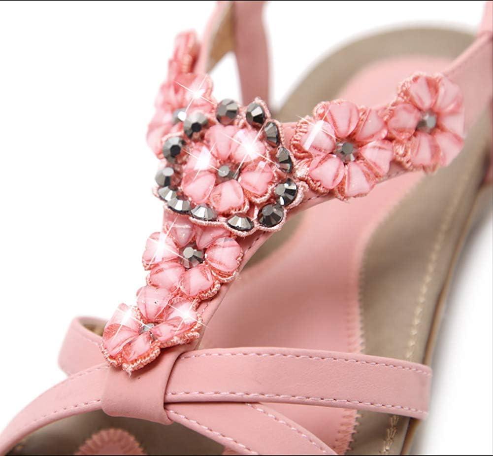 BHC Sandalias Planas Verano Mujer Estilo Zapatos de Dedo Sandalias Talla Grande Cinta Casuales Playa Chanclas Moda Pink