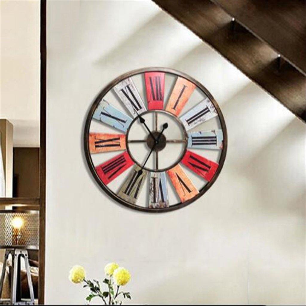 壁時計 農村レトロインダストリアルウィンドバーカフェリビングルームの装飾アイアンウォールクロックカラーラージウォールクロック68 * 68センチメートル B07DWXG2DG