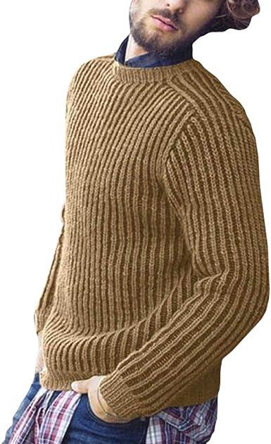 Hombre Suéter de Punto Pullover Gruesa Slim Fit Versátiles Jersey Camisa Cuello Redondo Color Sólido Casual Suéter Tops: Amazon.es: Ropa y accesorios