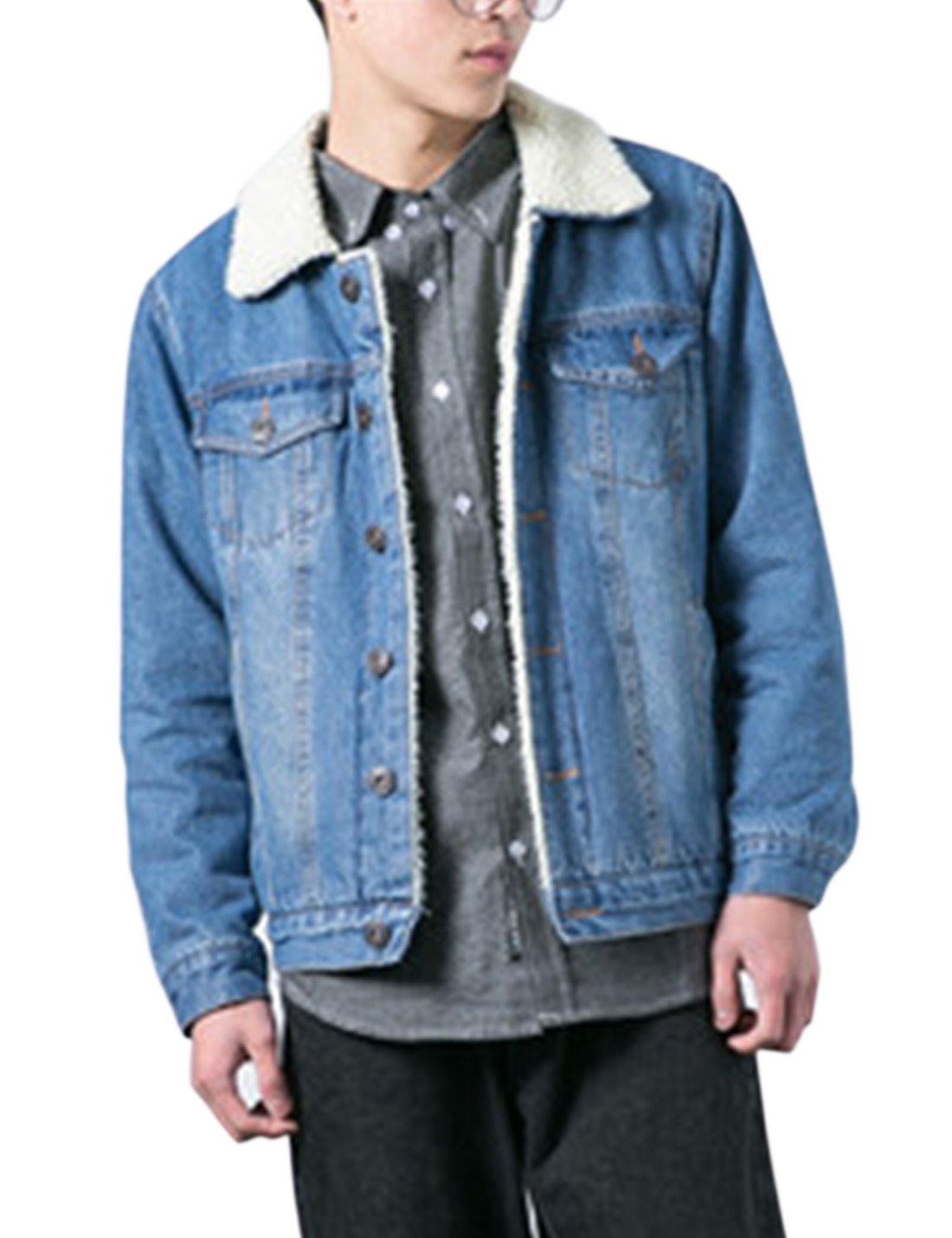 Lentta Men's Vintage Relax Fit Thick Fleece Sherpa Lined Denim Jean Jacket Coat (X-Small, Light Blue) by Lentta